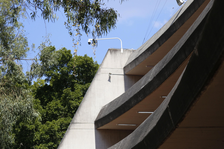 Sistema de audio contra sismos, instalado en el Centro Universitario de Arte, Arquitectura y Diseño (CUAAD), de la Universidad de Guadalajara.