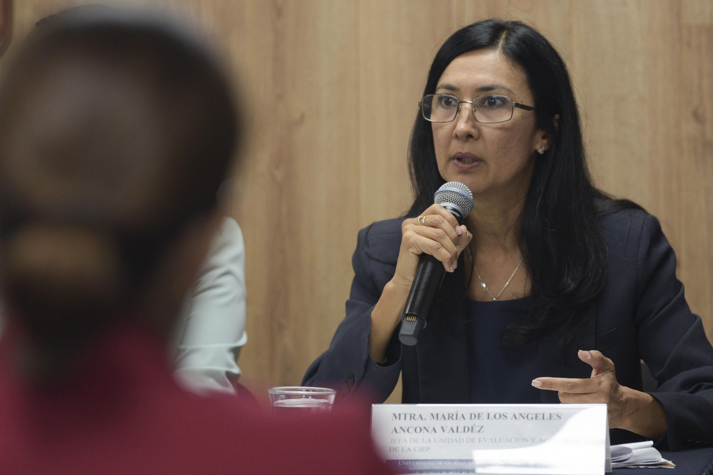 Maestra María de los Angeles Ancona Valdéz, hablando frente al micrófono