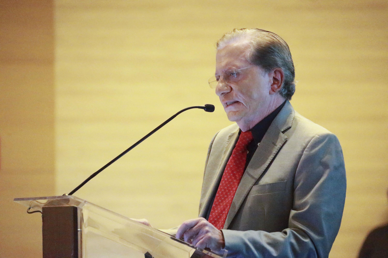 Ponente haciendo uso de la palabra durante su participación en el Jalisco & Finland High Technology Summit, organizado por  el Gobierno de Jalisco y la Embajada de Finlandia en la Ciudad de México