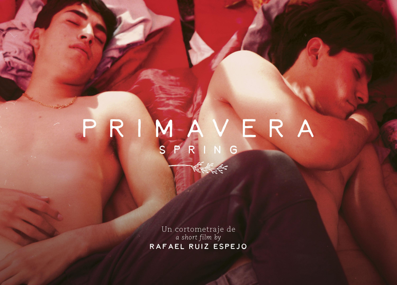 Cartel promocional de Primavera en donde dos jovenes semidesnudos estan acostados