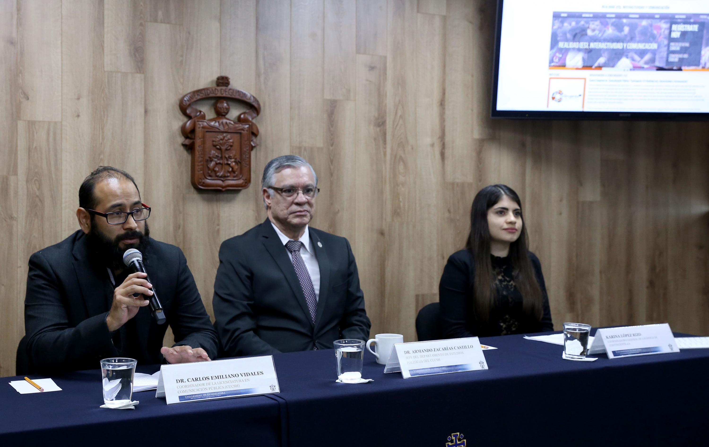 Rueda de presnsa para anunciar Contingente 4.0, encuentro organizado por estudiantes de la licenciatura en Comunicación Pública del Centro Universitario de Ciencias Sociales y Humanidades (CUCSH) de la Universidad de Guadalajara.