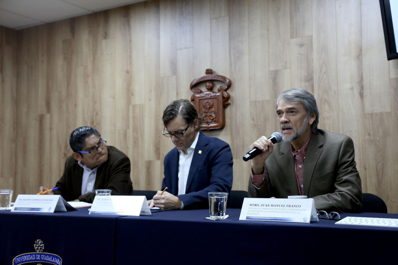 Rueda de prensa para anunciar la Cátedra de la Interculturalidad del Seminario de Epistemologías Decoloniales, organizada por la Universidad de Guadalajara (UdeG)