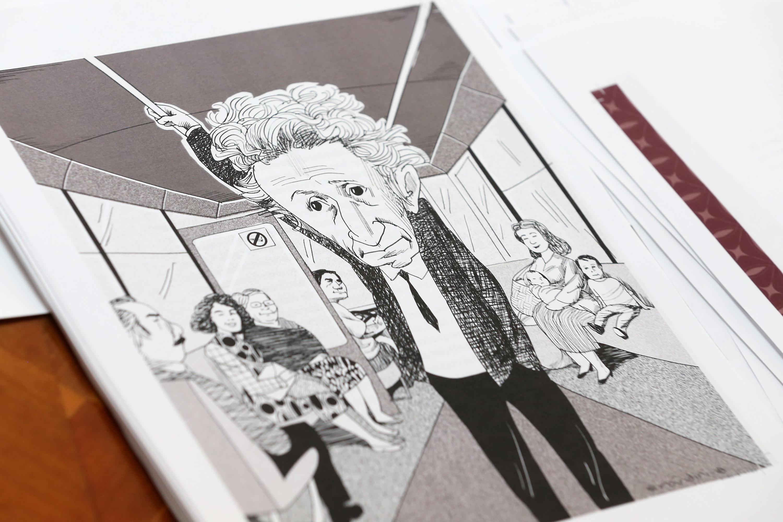 Iustración de Juan José Arreola, parado dentro de un transporte publico.