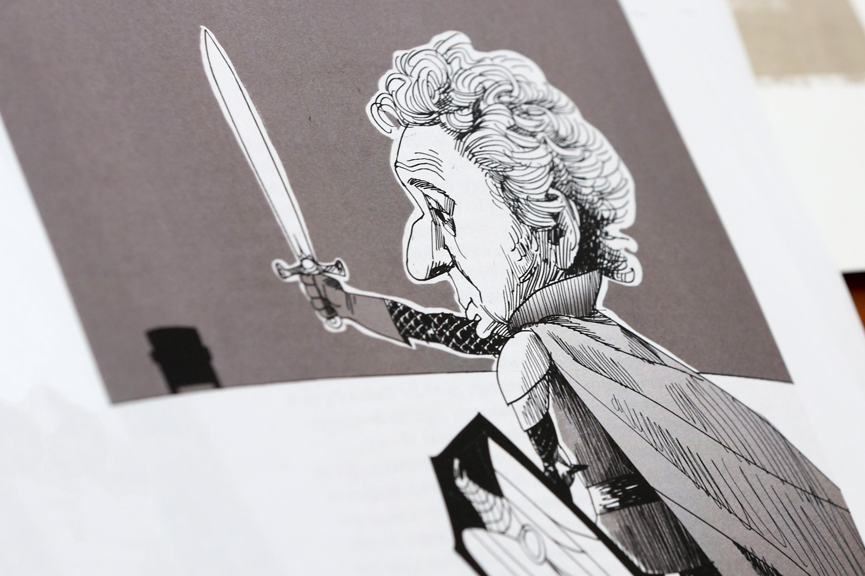 Ilustración de Juan José Arreola, vestido de caballero con armadura, alzando una espada a lo alto, mientras a lo lejos se observa un transporte público.