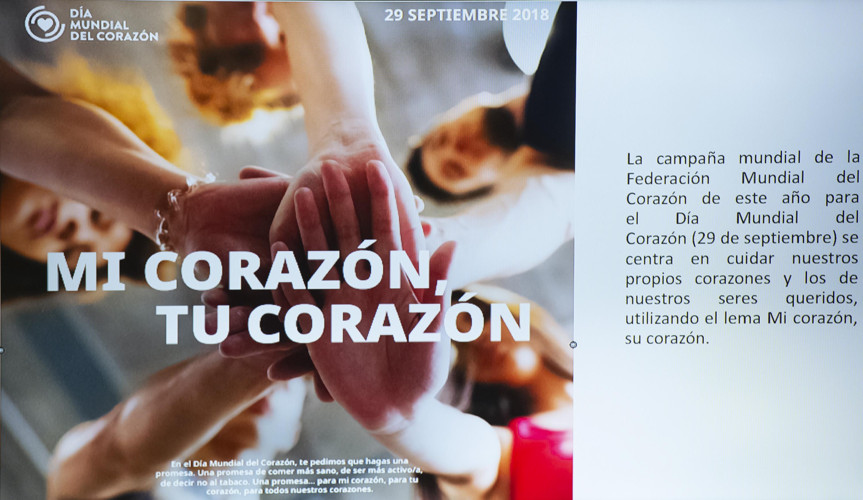 Mi corazón Tu corazón se lee en el folleto de la campaña por el dia del corazón