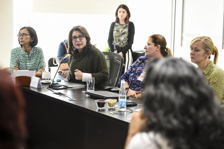 """Doctora Carmen Rodríguez Armenta, Vicerrectoría Ejecutiva; haciendo uso de la palabra, durante su ponencia en Seminario Internacional """"Equidad de género en el trabajo""""."""