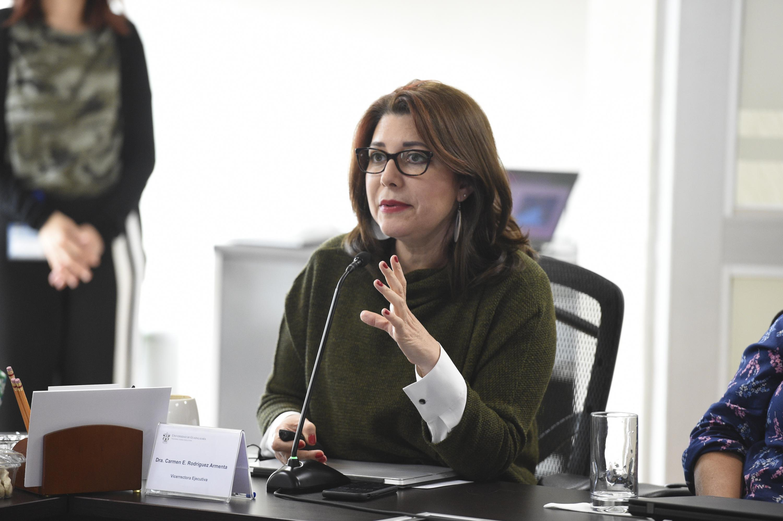 """Doctora Carmen Rodríguez Armenta, Vicerrectoría Ejecutiva; haciendo uso de la palabra, durante su participación en Seminario Internacional """"Equidad de género en el trabajo""""."""
