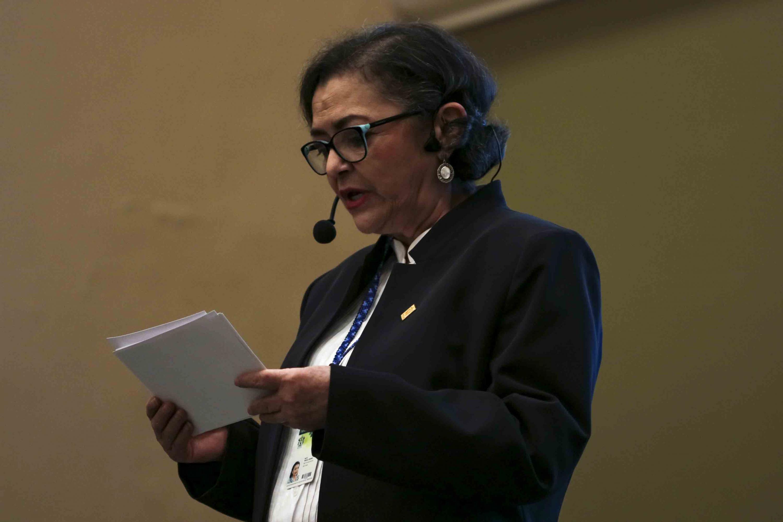Rectora del CUCEI, doctora Ruth Padilla Muñoz, dando la bienvenida al equipo Bosch México al CUCEI..