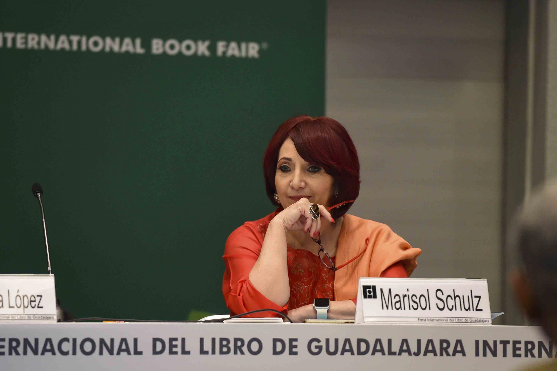 Directora General en Feria Internacional del Libro de Guadalajara Marisol Schulz participando en la rueda de prensa