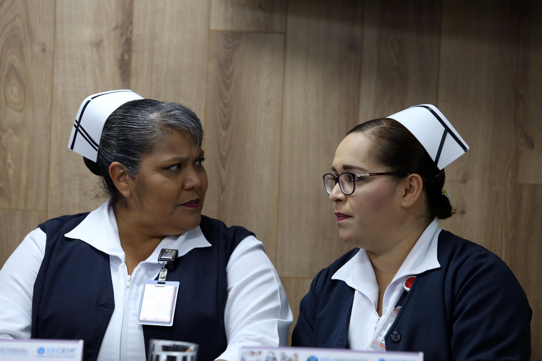 Enfermeras participando en la rueda de prensa