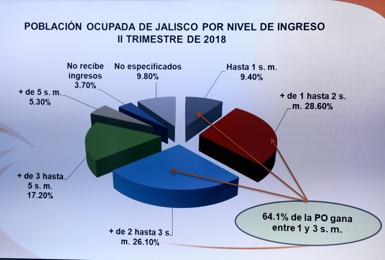 Grafica de pay que muestra el porcentaje de población por ocupación