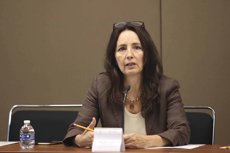 La doctora Ileana Guadalupe León González hablando desde la mesa de trabajo