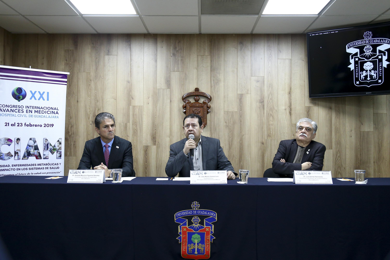 Rueda de prensa para anunciar los módulos de Cirugía Robótica e Imagenología, que forman parte del vigésimo primer Congreso Internacional de Avances en Medicina (CIAM 2019), organizado por el Hospital Civil de Guadalajara (HCG)