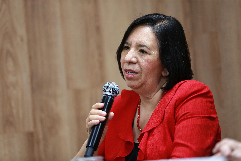 Directora del Centro Estatal de Transfusión Sanguínea, doctora María Guadalupe Becerra Leyva, hablando frente al micrófono durante rueda de prensa