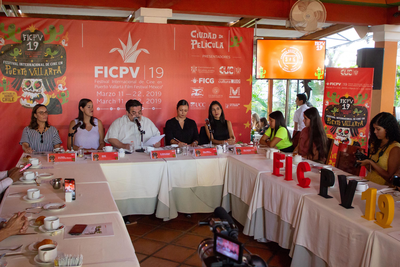 Vista general de la rueda de prensa para el anuncio del programa del Festival Internacional de Cine en Puerto Vallarta 2019