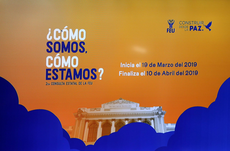 Cartel informativo sobre la segunda consulta estatal de la FEU a realizarse del 19 de marzo al 10 de abril