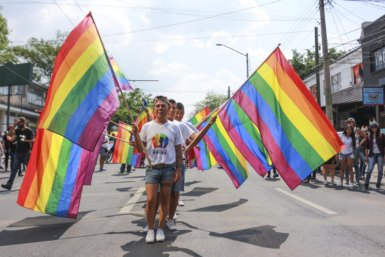 Comunidad LGBT+ participando en una marcha, con las banderas representativas.