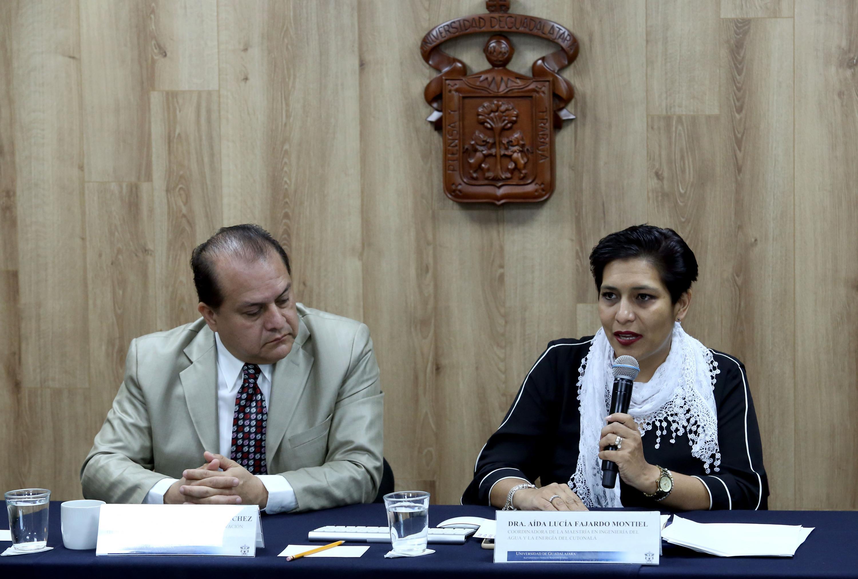 Coordinadora de la Maestría en Ingeniería del Agua y la Energía del CUTonalá, doctora Aída Lucía Fajardo Montiel, haciendo uso de la palabra durante rueda de prensa