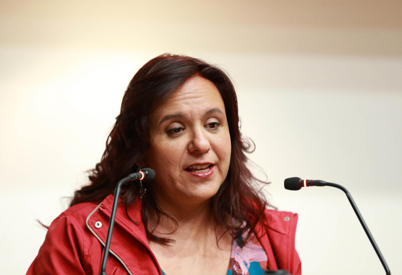 Periodista y escritora Marcela Turati, en uso de la palabra, durante la cuarta edición de la Cátedra Javier Valdez