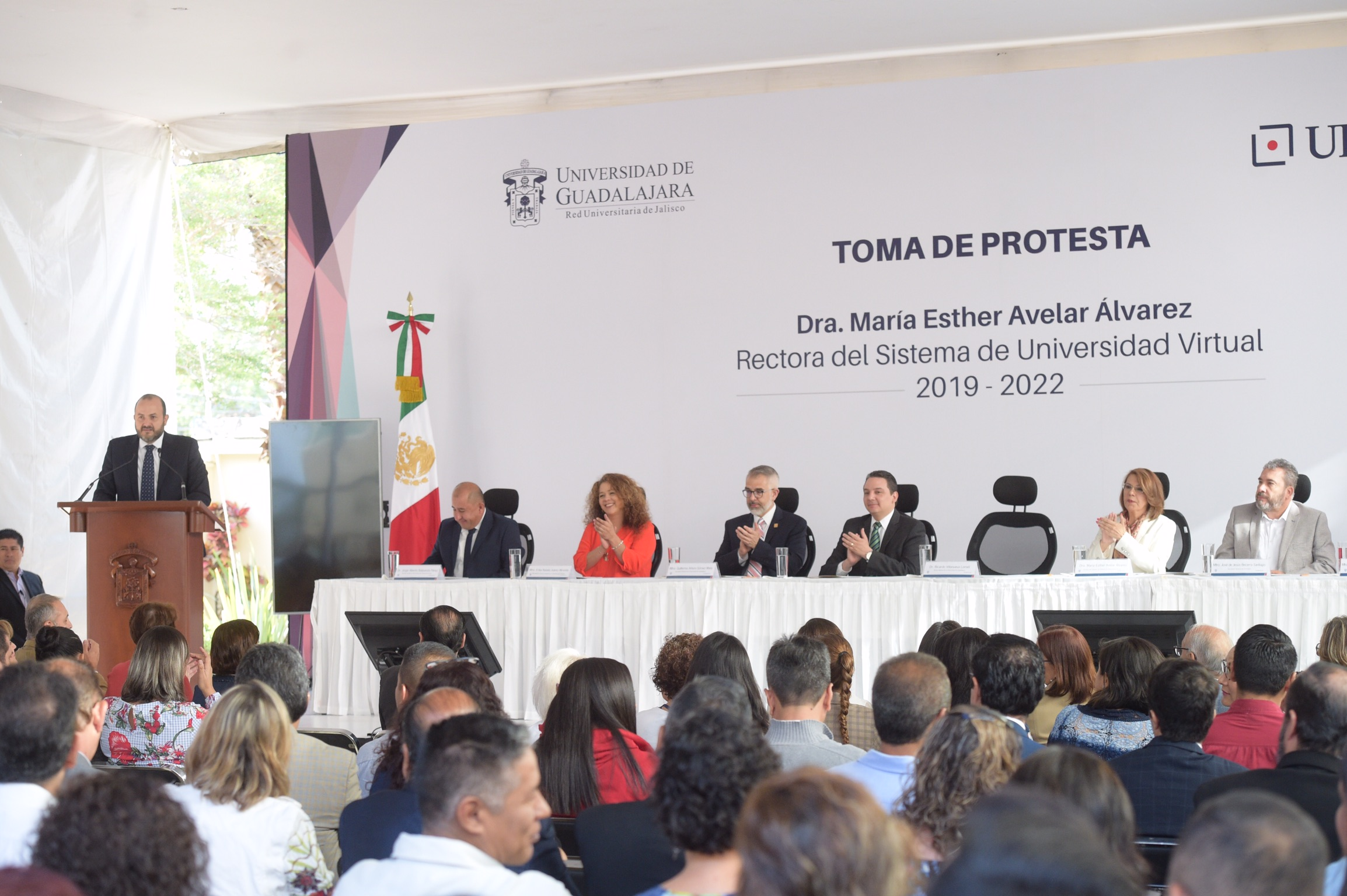 Rector General de la Universidad de Guadalajara (UdeG), doctor Ricardo Villanueva Lomelí, participando en la ceremonia