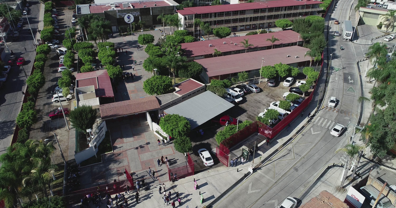 Vista aérea de la Preparatoria 9 del Sistema de Educación Media Superior (SEMS), de la Universidad de Guadalajara