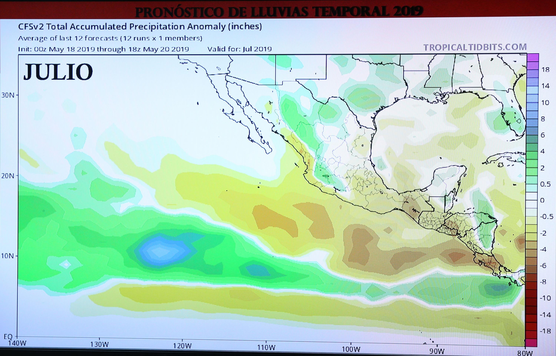 Mapa meteorológico de las condiciones de clima que se pronostican para el mes de julio