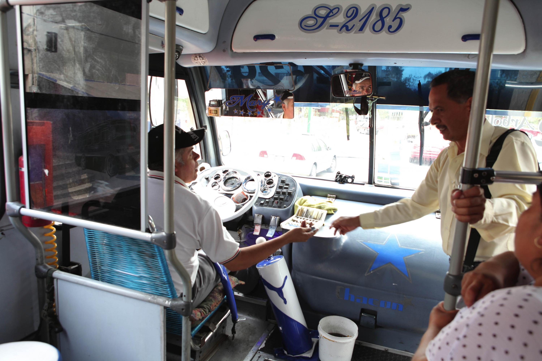Conductor del transporte público trabajando en su unidad