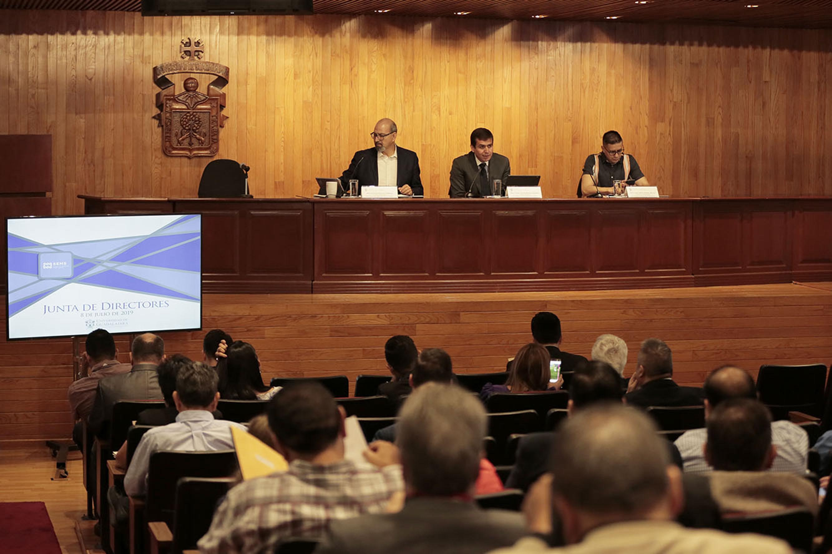 Junta de Directores realizada este día en el auditorio del edificio Valentín Gómez Farías, sede del Sistema de Educación Media Superior (SEMS)