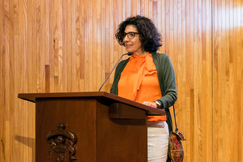 La Directora del MUSA, maestra Maribel Arteaga Garibay en uso de la palabra
