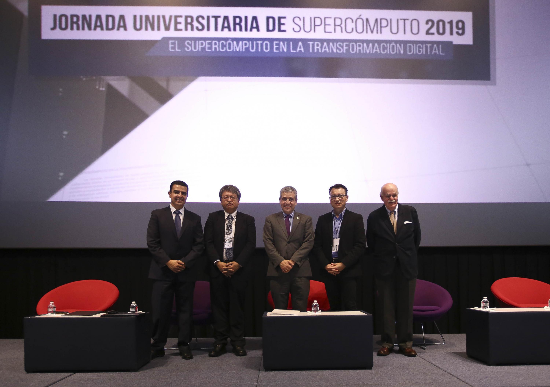 Autoridades de la Universidad de Guadalajara (UdeG) en la Jornada Universitaria de Supercómputo 2019, que integra un ciclo de conferencias magistrales, mesas redondas y talleres