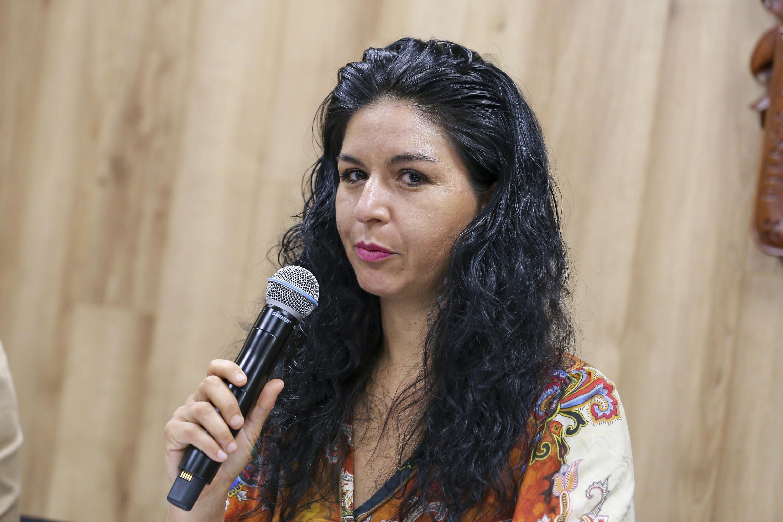 La Jefa de la Unidad de Servicio Social, de la Coordinación  General de Extensión (CGE), de la Universidad de Guadalajara (UdeG), maestra Marcela Hernández Aguayo, en uso de la palabra