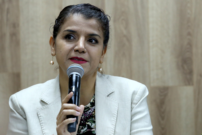 La Coordinadora de Extensión de UDGVirtual, doctora Noemí Moreno Ramos, en uso de la voz