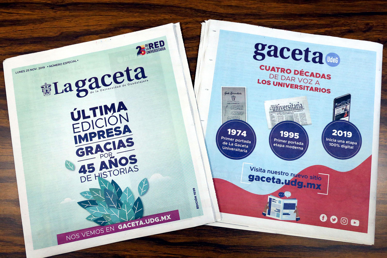 Portada y contra portada de la Gaceta de la Universidad de Guadalajara