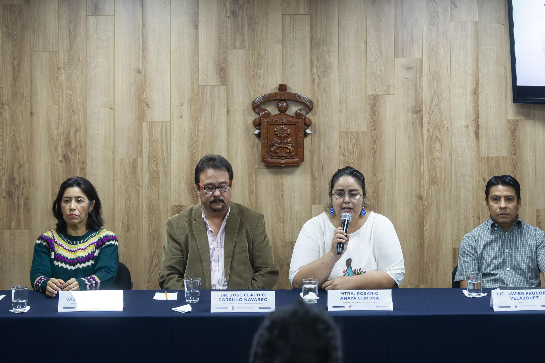 Académicos en la rueda de prensa del XXV Aniversario de la UACI, Unidad de Apoyo a las Comunidades Indígenas