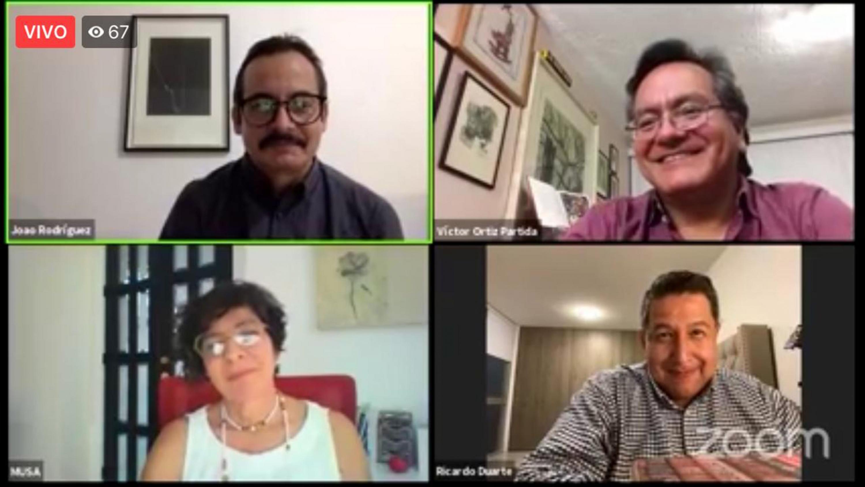 Participantes al seminario virtual Maribel Arteaga, Ricardo Duarte, Víctor Ortiz y Joao Rodríguez