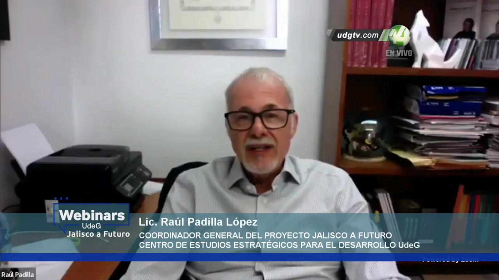 El licenciado Raúl Padilla López en su papel de Coordinador General del proyecto Jalisco a Futuro, del Centro de Estudios Estratégicos para el Desarrollo (CEED)