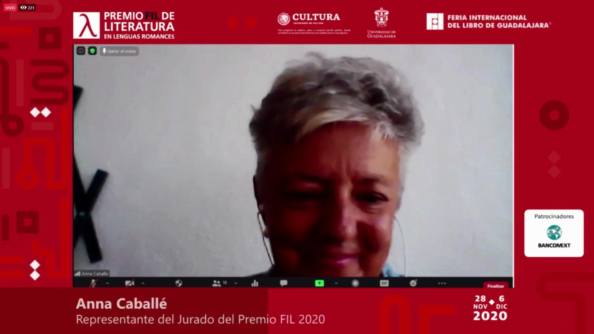 Anna Caballé, en su calidad de representante del Jurado del Premio FIL 2020