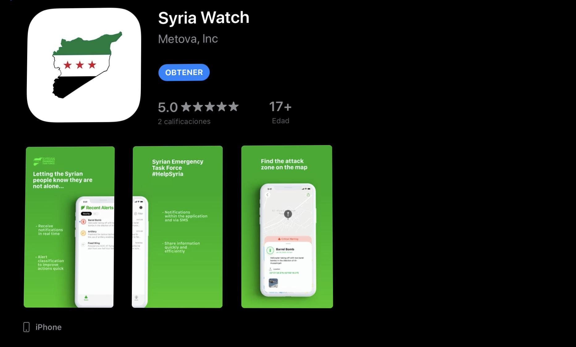 Se trata de la aplicación Syria Watch, que genera alertas de ataque y cuenta con botones de donación para apoyar a la asociación civil Syrian Emergency Task Force