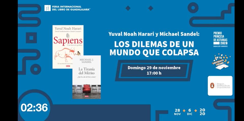 Filósofo político estadounidense Michael J. Sandelen sostuvo un diálogo magistral con el historiador israelí Yuval Noah Harari, en la FIL