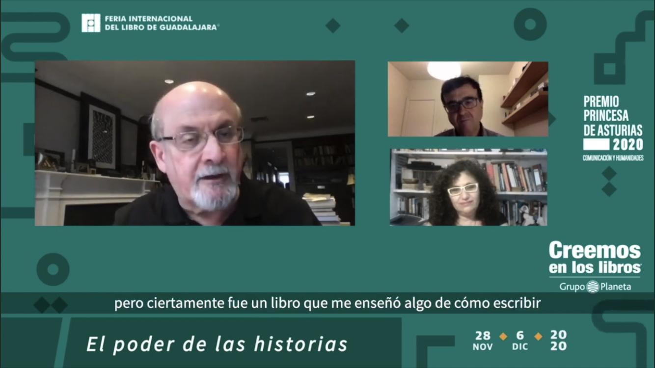 Escritores Salman Rushdie y Javier Cercas conversan en la FIL Guadalajara