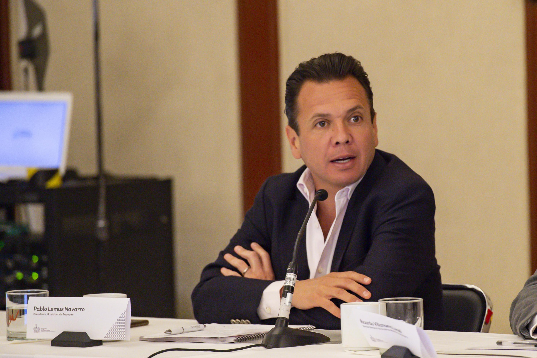 El Alcalde de Zapopan, licenciado Pablo Lemus Navarro, haciendo uso de la palabra