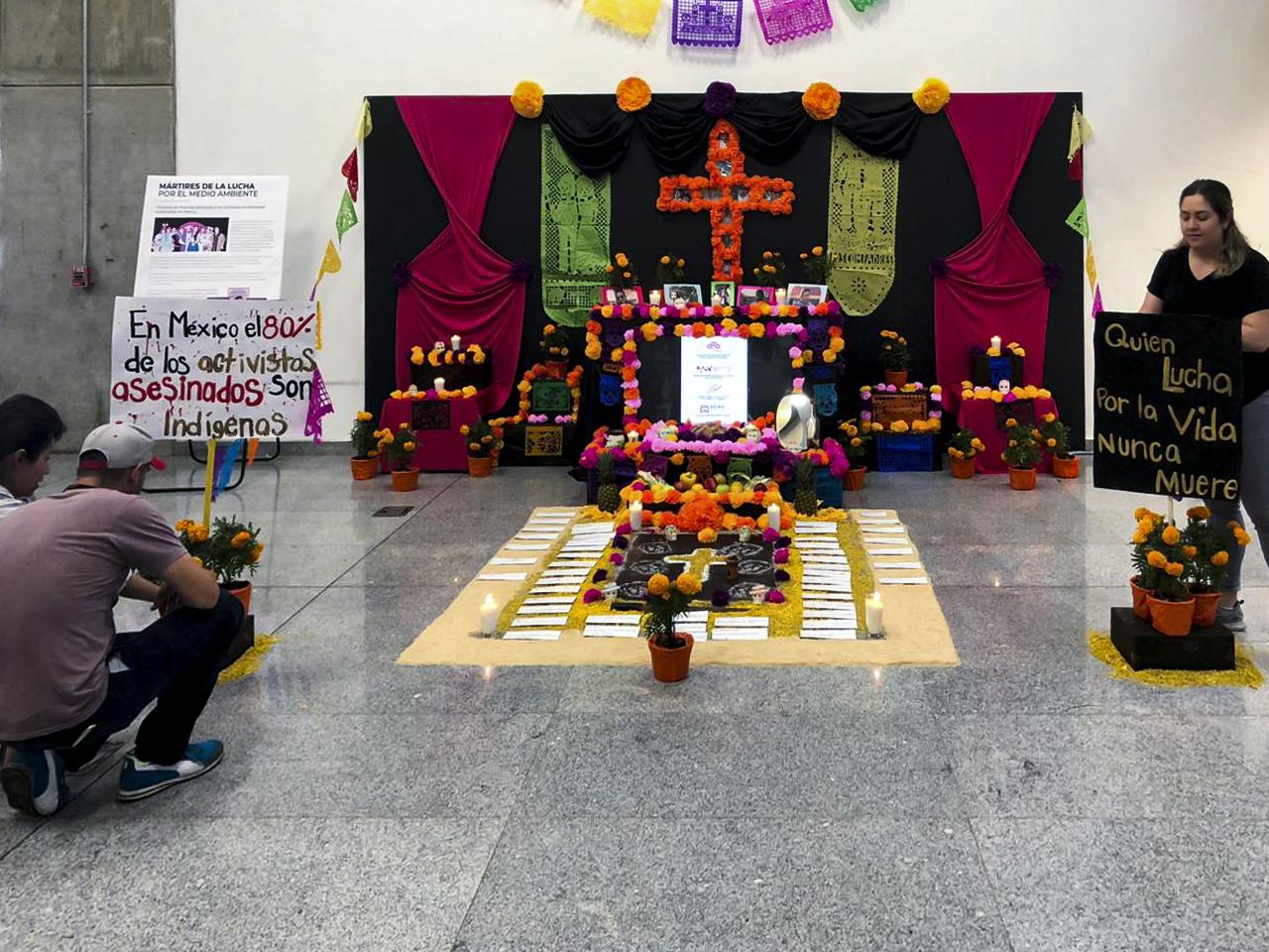 Foto de perspectiva de la instalaciòn en la BPEJ del altar de muertos