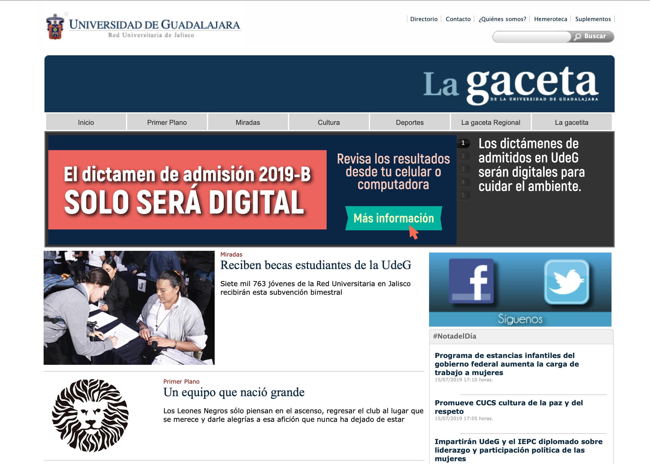 Portal electrónico de la  Gaceta de la Universidad de Guadalajara
