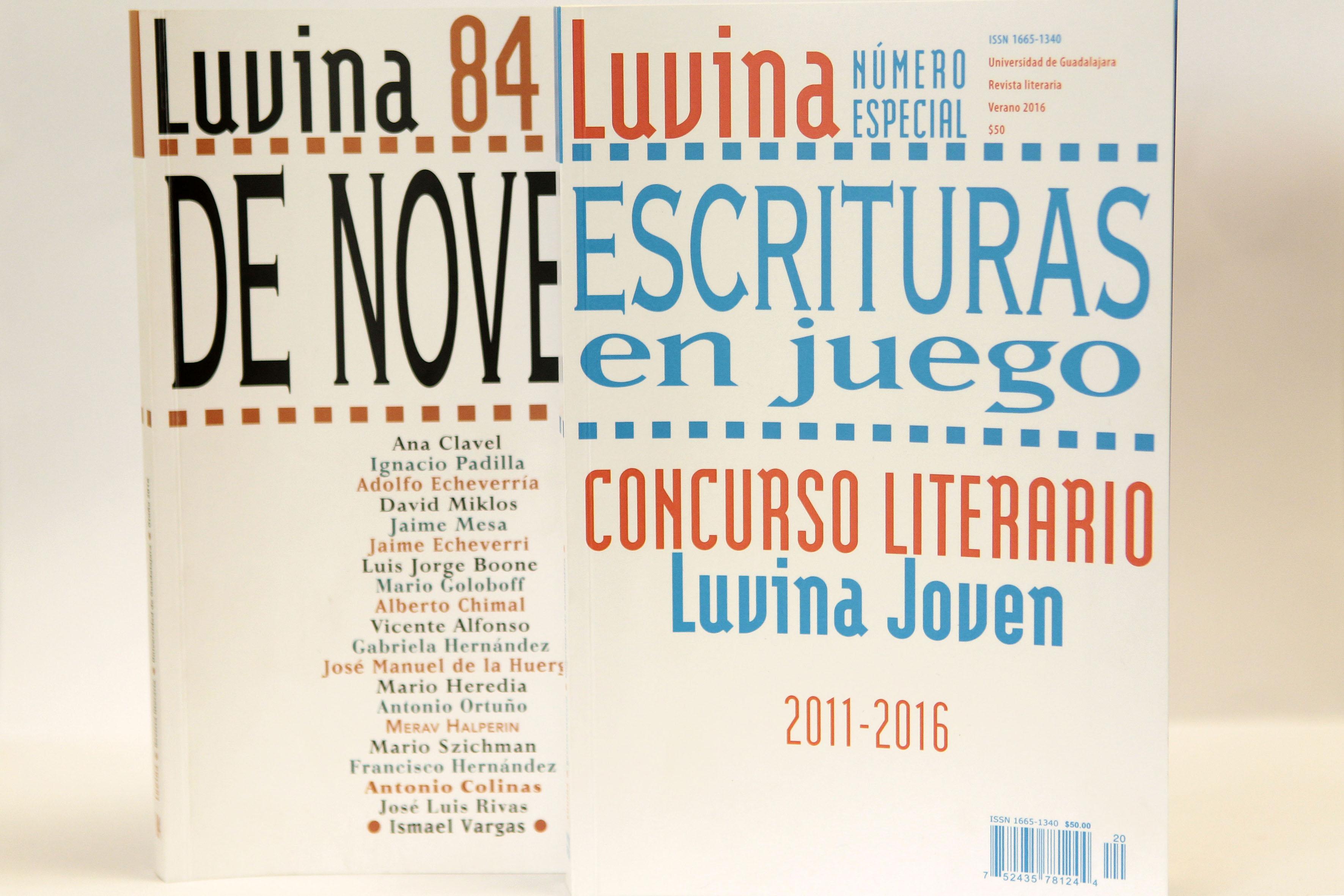 """Portada de Luvina número 84 y de la edición especial Luvina titulado """"Escrituras en juego"""""""