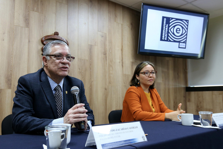 Rueda de prensa para anunciar el Observatorio Electoral, del Departamento de Estudios Políticos, del Centro Universitario de Ciencias Sociales y Humanidades (CUCSH), de la UdeG.