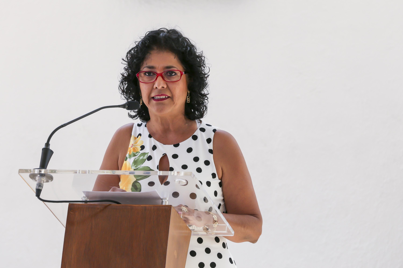 Directora de la Preparatoria 13 de la Universidad de Guadalajara (UdeG), maestra Araceli Ambriz Ramos, en uso de la palabra