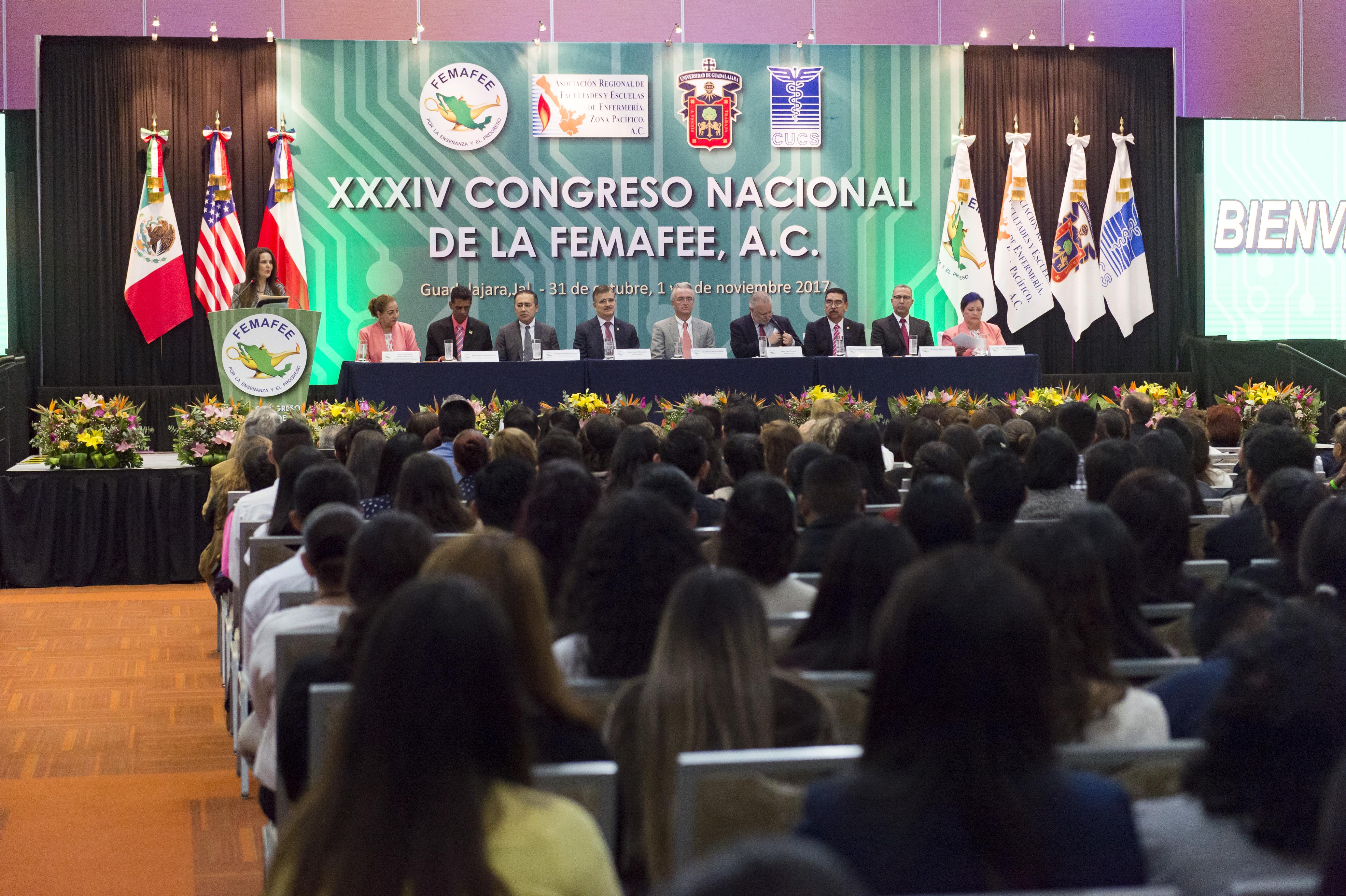 Ceremonia de inauguración del XXXIV Congreso Nacional de la Federación Mexicana de Asociaciones de Facultades y Escuelas de Enfermaría (FEMAFEE).