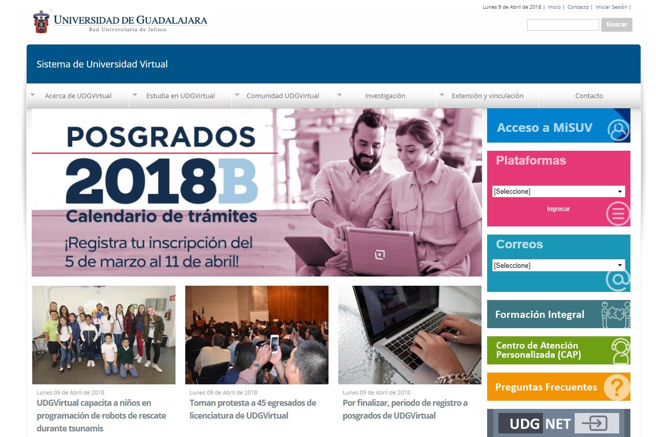 Portada del sitio web del Sistema de Universidad Virtual con anuncios de sus convocatorias de posgrado