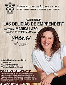 Cartel informativo para promocionar la conferencia: Las delicias de emprender  que se desarrollará en el CUAAD el 6 de noviembre