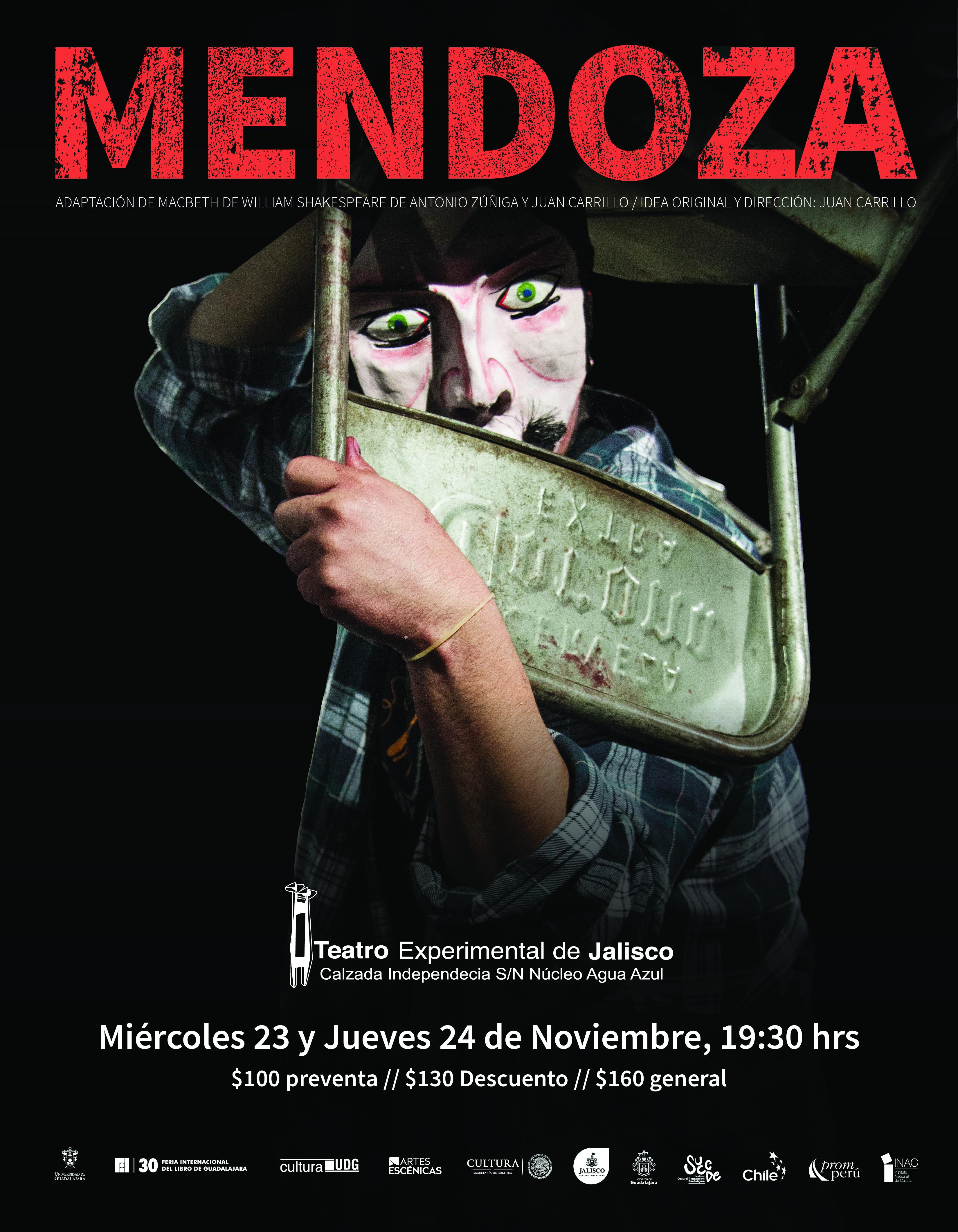 Cartel con texto e imagen de la puesta en escena: Mendoza